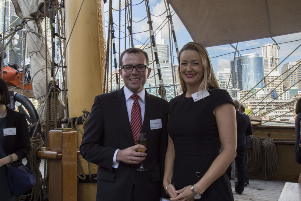 NSW Tourism Minister Hon. Adam MarshalL with ACBC CEO Natalie Cope at Accru-ACBC's harbour cruise