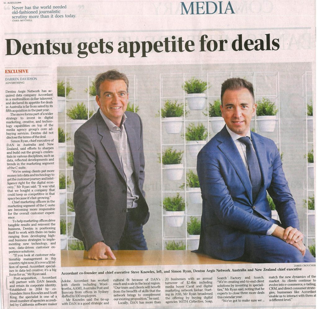 Accordant Accru cleint acquired by Dentsu - Australian article May 1 2017